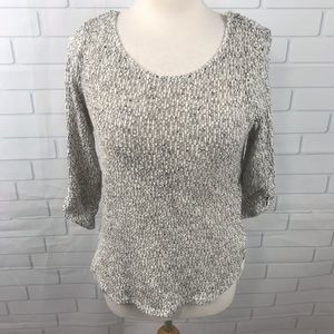 BCX knit sweater top gray white